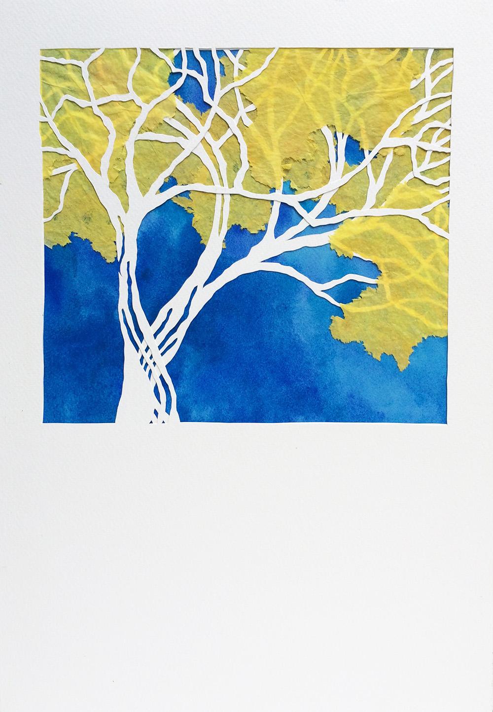 Corteza-amarilla Tree papercut