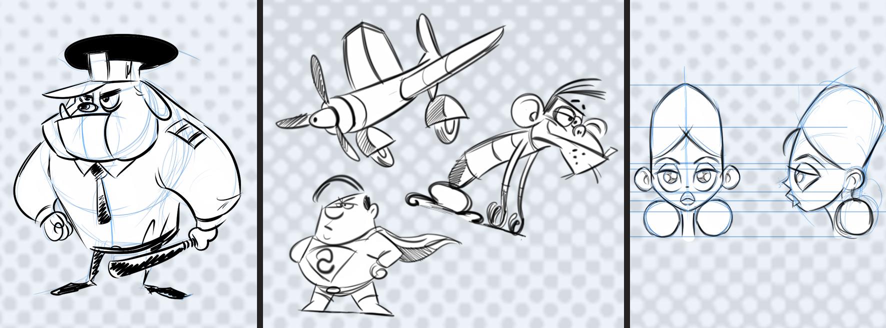Banner Dibujo humorístico para cómic y animación general Santa Gráfica online