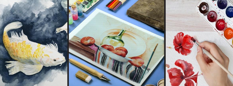 Banner Acuarela Santa Gráfica online